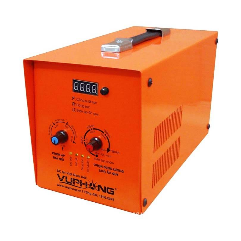 Máy sạc (nạp) ắc quy điện tử - tự động 3 chế độ 10AH->250AH chính hãng chất  lượng cao - Vũ Phong Solar