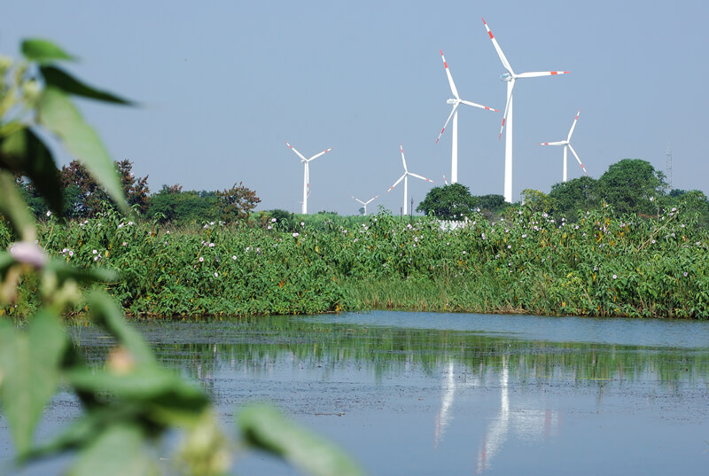 A Suzlon Group manufactured wind farm in Dhule, India