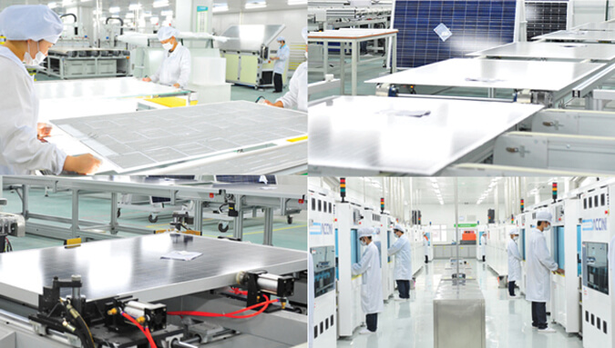 Hình: nhà máy sản xuất tấm pin năng lượng mặt trời