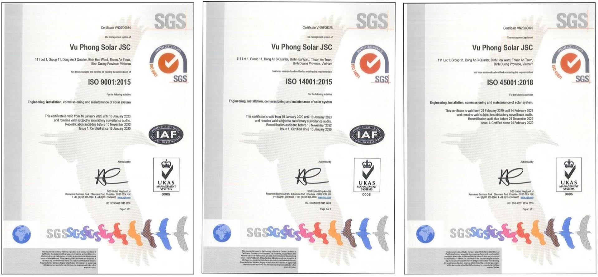 Các chứng nhận ISO của Vũ Phong Solar