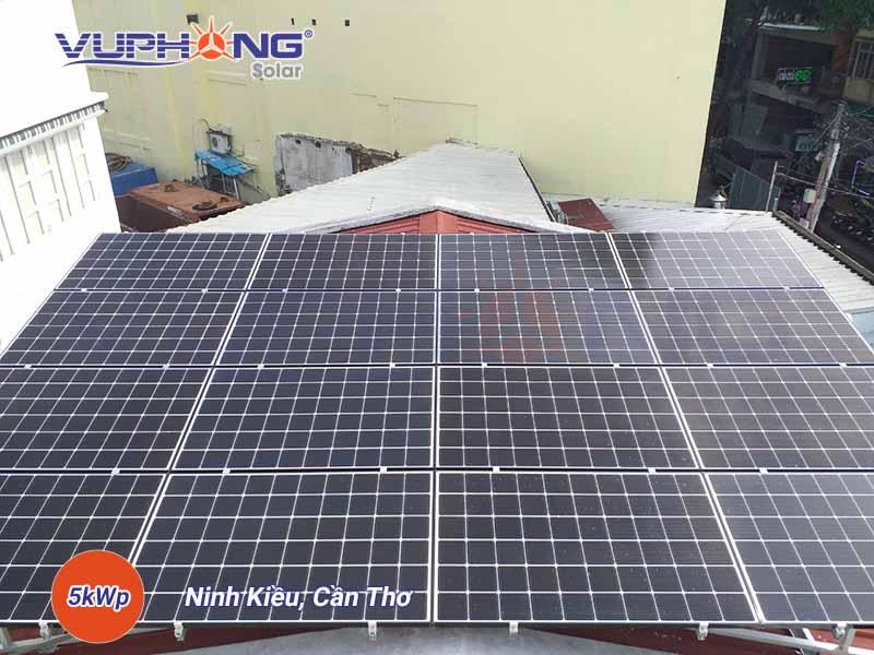 Hệ thống điện mặt trời 5kWp do Vũ Phong Solar lắp đặt