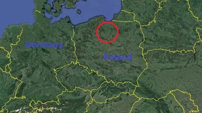 Vị trí cầu Grudziądz bắc qua sông Vistula gần thị trấn Grudziądz ở miền bắc Ba Lan